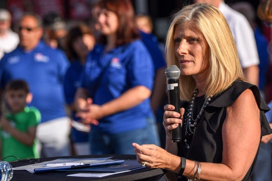 Kristin Corrado who represents the 40th Legislative District in the New Jersey Senate, speaks during the POW/MIA chair of honor dedication ceremony at Yogi Berra Stadium in Little Falls hosted by the New Jersey Jackals and Rolling Thunder on Saturday August 24, 2019.