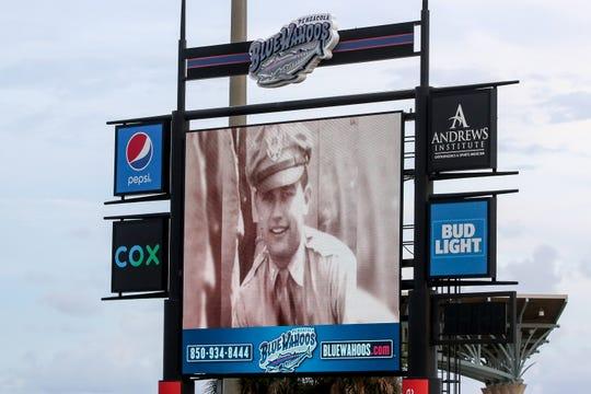 An undated photo of World War II veteran Albert Lane is displayed Friday at Blue Wahoos Stadium.