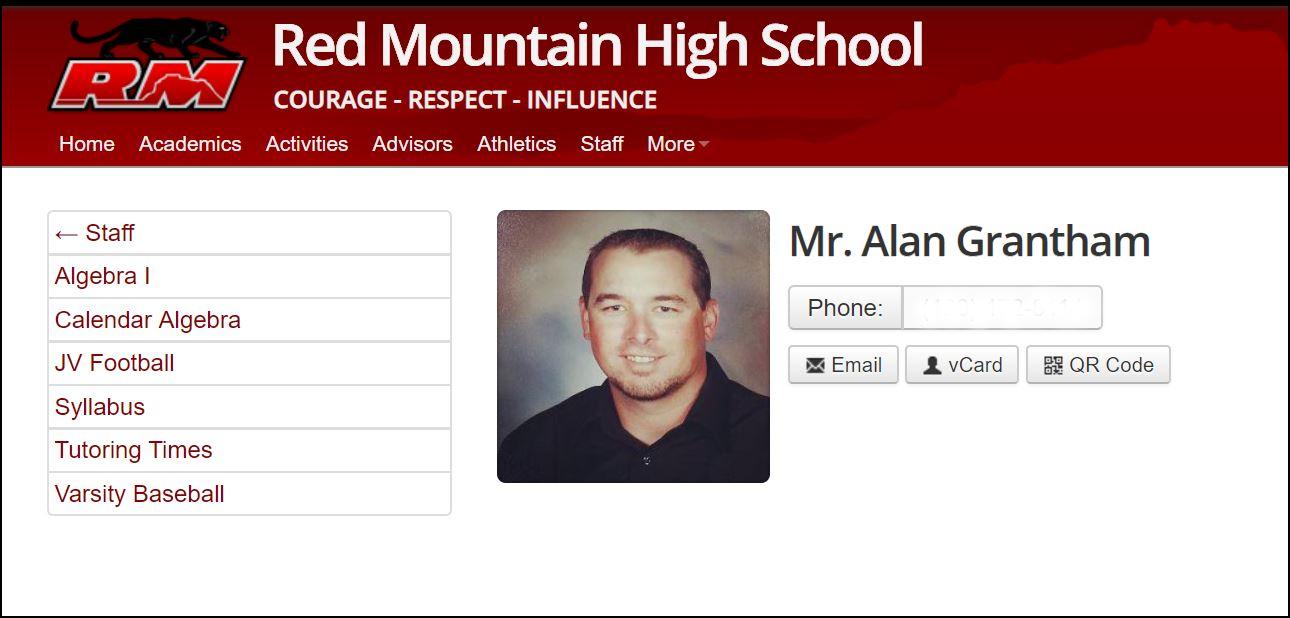 Alan Grantham's Red Mountain High School webpage.