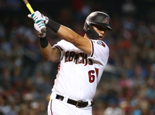 Arizona Diamondbacks David Peralta pinch-hits against the Baltimore Orioles in the seventh inning at Chase Field on July 24, 2019 in Phoenix, Ariz.