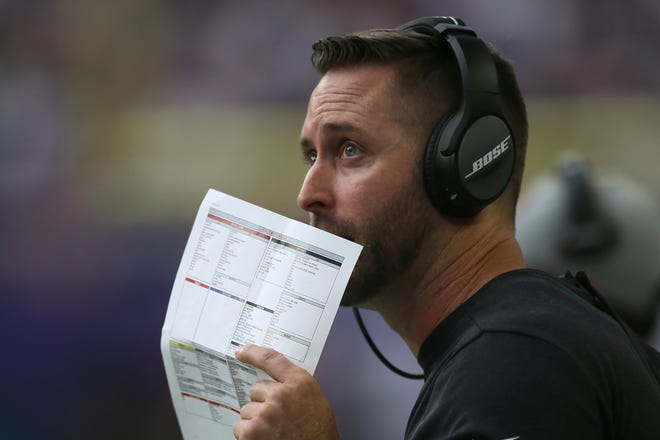 Arizona Cardinals head coach Kliff Kingsbury watches from the sideline during the first half of an NFL preseason football game against the Minnesota Vikings, Saturday, Aug. 24, 2019, in Minneapolis.