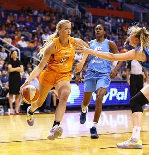 Phoenix Mercury guard Sophie Cunningham basket to the basket against the Atlanta Dream in the first half on Aug. 16, 2019 in Phoenix, Ariz.