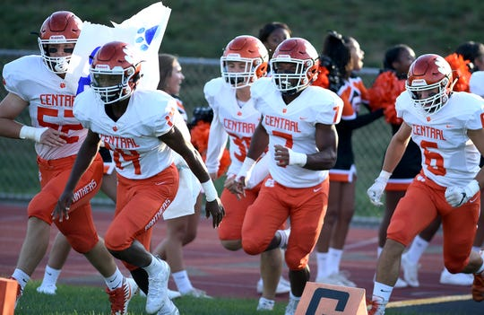 The Central York football team runs onto the field for it season opener on Aug. 23 against West York. The Panthers are 1-1 heading into Friday's game against Hempfield, which is also 1-1.