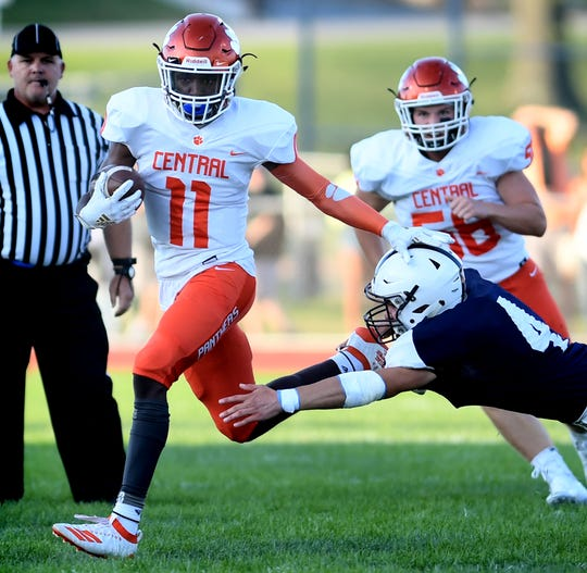 Central York's Taylor Wright-Rawls, seen here in action earlier this year vs. West York, is a dangerous threat at wideout for the Panthers.