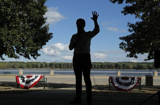 In this Aug. 14, 2019, file photo, Democratic presidential candidate South Bend Mayor Pete Buttigieg speaks at a campaign event along the Mississippi River in Keokuk, Iowa. Buttigieg is making a faith-based appeal to Democratic voters as he tries to demonstrate his party's religiosity. Photo by John Locher