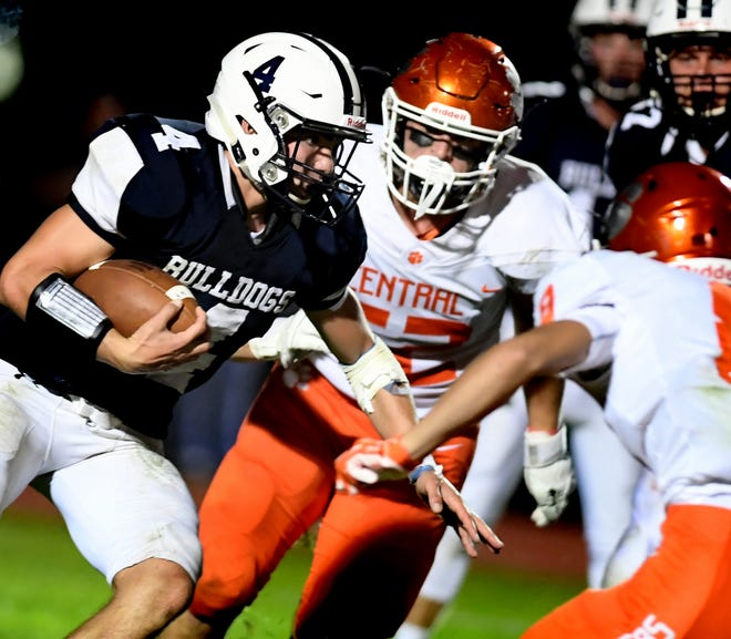 Central York's Ian McNaughton (52) pursues West York's Joseph DeJesus during season-opening football action at West York on Friday, Aug. 23, 2019. The 2020 season is set to open on Friday night.