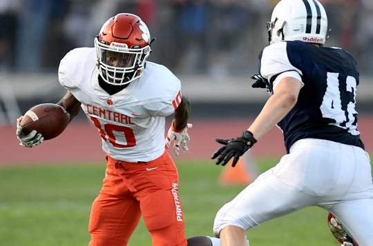 Central York senior running back Brendan Harris, shown here in a file photo, scored the lone touchdown in the Panthers' 13-12 loss at Cumberland Valley on Friday.