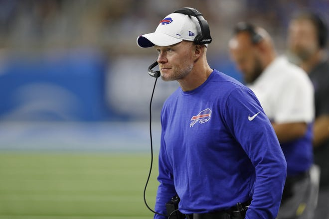 Buffalo Bills head coach Sean McDermott looks on during the first quarter against the Detroit Lions at Ford Field.
