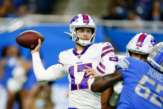 Buffalo Bills quarterback Josh Allen (17) throws during the first half of the team's NFL preseason football game against the Detroit Lions in Detroit, Friday, Aug. 23, 2019.