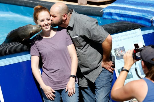 Cassandra Mitrofan of Salem gets a kiss on the cheek from Josh Longfellow of Forest Grove and a sea lion while at the Oregon State Fair in Salem, Oregon, on Saturday, Aug. 24, 2019.