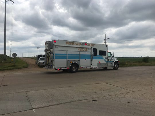 An emergency vehicle responds to a Saturday crash near 265th Street and 466th Avenue.