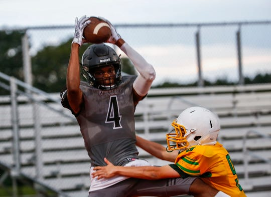 Willard Tiger Maurice Grayer makes a catch during a preseason jamboree game against Parkview at Republic on Friday, August 23, 2019.