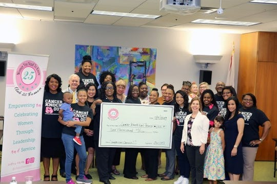 """Club25 members of the Tallahassee Democrat """"25 Women You Need To Know"""" recently donated a check to Dr. Towanda Davis founder of Cancer Knockout Foundation as part of their 2019-2020 ongoing service projects to enhance the lives of women and girls in our community."""