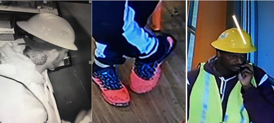 """The armed robbery suspect is described as a B/M; approximately 6'0"""" in height; mid-to-late 30s with a thin mustache. He was wearing a yellow hard hat, yellow safety vest, dark-red hoodie, black/gray sweatpants, and pink shoes."""