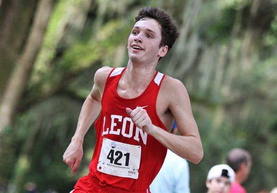Leon sophomore Jackson Yarbrough runs to a win at the Dueling Summits cross country meet at Tallahassee's Eleanor Klapp-Phipps Park on Saturday, Aug. 24, 2019.