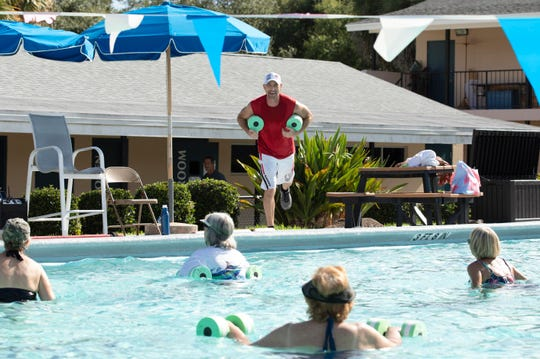 """Leisure Square serves the community in so many ways and a lot of people in my classes live right around this campus,"" said John Sammartano (center), who teaches a water aerobics class on Saturday, Aug. 24, 2019, during Leisure Square Day at Vero Beach's Leisure Square. Supporters of the Leisure Square pool are expected to crowd Monday's budget public hearing."