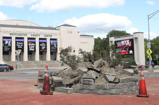 An early morning accident killed a pedestrian and took down the clock across the street from the Westchester County Center in White Plains Aug. 24, 2019.
