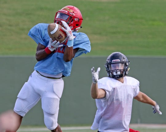 Hirschi and Wichita Falls High compete in a scrimmage Friday, Aug. 23, 2019, at Memorial Stadium.