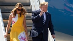 President Donald Trump and his wife Melania arrive at the airport in Biarritz, France, for the first day of the G-7 summit. Trump and the six other leaders of the Group of Seven nations will begin meeting Saturday for three days in the southwestern French resort town of Biarritz.