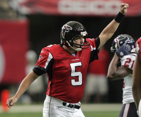 Morten Andersen celebrates after kicking a field goal for the Atlanta Falcons.