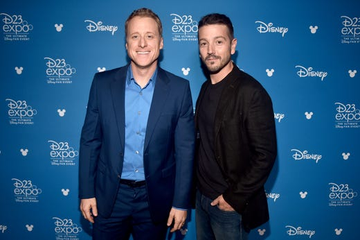 ANAHEIM, CALIFORNIA - AUGUST 23: (L-R) Alan Tudyk and Diego Luna of 'What If...?' took part today in the Disney+ Showcase at Disneys D23 EXPO 2019 in Anaheim, Calif.  'What If...?' will stream exclusively on Disney+, which launches November 12. (Photo by Alberto E. Rodriguez/Getty Images for Disney) ORG XMIT: 775341942 ORIG FILE ID: 1169849700