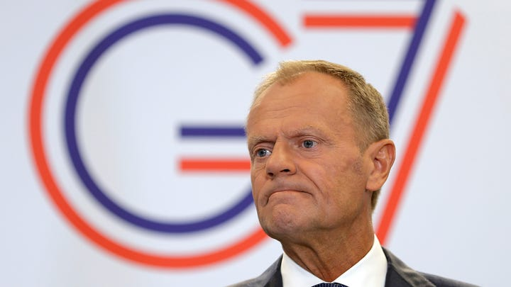 "European Council President Donald Tusk, speaking at the annual G7 summit in Biarritz, France,  warns that the European Union will respond ""in kind"" if President Donald Trump follows through on his threat to slap tariffs on French wines."
