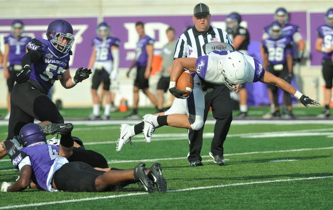 White team running back Billy McCrary is tripped up by the Purple team's Anthony Goffney (4) during ACU's scrimmage Saturday, Aug. 24, 2019, at Wildcat Stadium. The White team won 24-7.