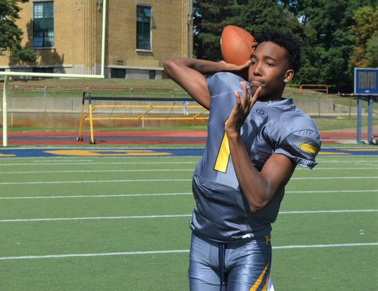 Battle Creek Central's Theo Shepherd is a standout athlete who will play quarterback for the Bearcats, but is getting recruited at the college level at receiver.
