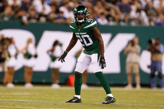New York Jets free safety Marcus Maye (20) makes his preseason debut against the New Orleans Saints Saturday, Aug. 24, 2019, in East Rutherford, N.J. (AP Photo/Adam Hunger)