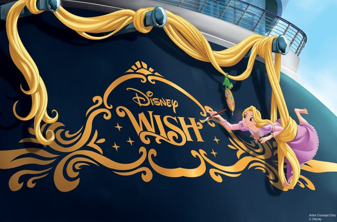 The Disney Wish's stern will feature Rapunzel. Paintbrush in hand, Rapunzel uses her enchanted hair to suspend herself as she decorates the stern of the ship with the help of her  sidekick, Pascal. It has been a tradition to adorn the back of Disney ships with an iconic character that reflects the theme of each vessel.
