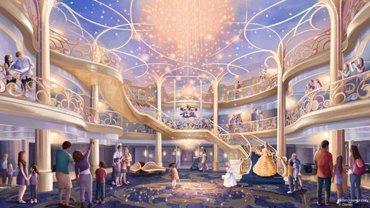 "Disney Cruise Line said the three-story atrium of the Disney Wish will be ""a bright, airy and elegant space inspired by the beauty of an enchanted fairy tale."""