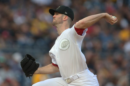 Aug 24, 2019; Pittsburgh, PA, USA;  Cincinnati Reds starting pitcher Alex Wood (40) delivers a pitch against the Pittsburgh Pirates during the first inning of a MLB Players' Weekend game at PNC Park. Mandatory Credit: Charles LeClaire-USA TODAY Sports