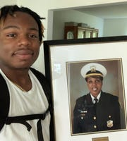 Just before heading off to college, Walnut Hills football alum Robinson Perry took a moment to remember his mother, Cincinnati Police Capt. Kimberly Williams, who died of breast cancer.