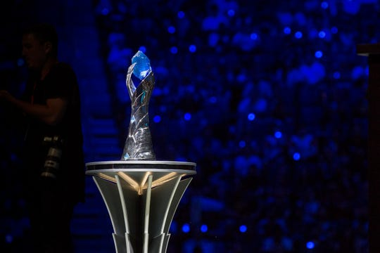 The trophy stands between teams during the 2019 LCS Summer Finals at Little Caesars Arena in Detroit, Mich., Sunday, August 25, 2019.
