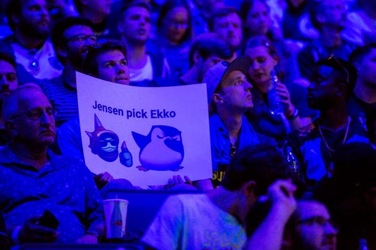 Andrew Gillings, 19 of Traverse City supports Cloud9 at the 2019 LCS Summer Finals at Little Caesars Arena in Detroit, Mich., Sunday, Aug 25, 2019.