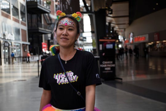 Jacqueline Wong, 28 of Cincinnati, Ohio, dresses as Neeko during the 2019 LCS Summer Finals at Little Caesars Arena in Detroit, Mich., Sunday, August 25, 2019.