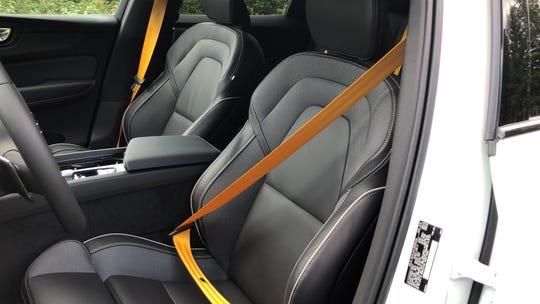 Volvo's Polestar electrified performance models have gold safety belts.