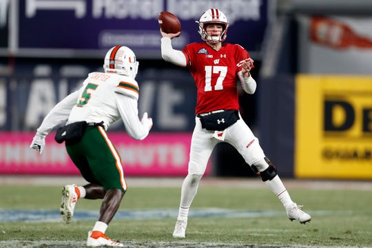 Wisconsin's Jack Coan (17) has been named the team's starting quarterback for Week 1.