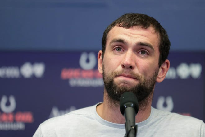 Indianapolis Colts quarterback Andrew Luck speaks during a news conference, announcing his retirement.