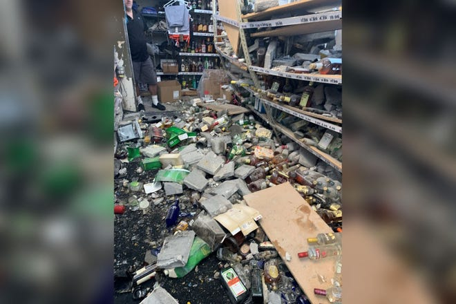 The Sunday morning smash and grab at J R Liquor on Detroit's west side caused the destruction of multiple bottles of liquor