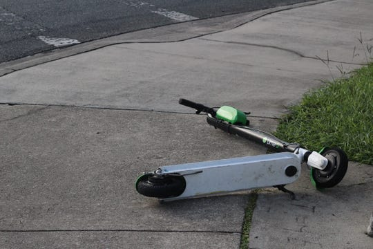 E-scooters are being found abandoned around campus perimeters.