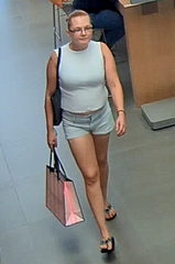 The Lee County Sheriff's Office is looking for a woman who allegedly made off with several products from the Apple store in the Coconut Point mall.