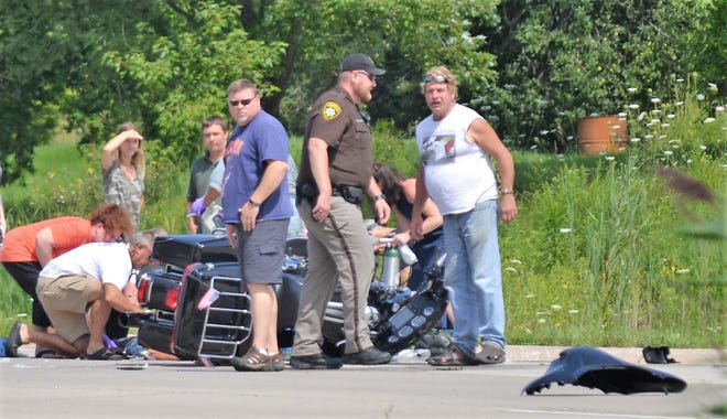 Two people were injured, one seriously, when this motorcycle collided with an SUV at the intersection of Highway 141 and Chicken Shack Road on Aug. 17.