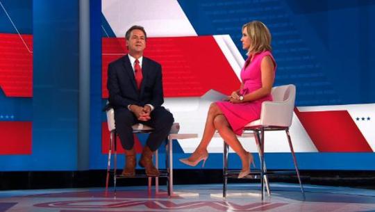Gov. Steve Bullock talks during his town hall Sunday with CNN anchor Alisyn Camerota.