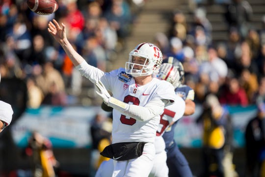 Dec 31, 2018; El Paso, TX, United States; Stanford Cardinal quarterback K.J. Costello (3) attempts a pass against the Pittsburgh Panthers defense at Sun Bowl Stadium. Mandatory Credit: Ivan Pierre Aguirre-USA TODAY Sports