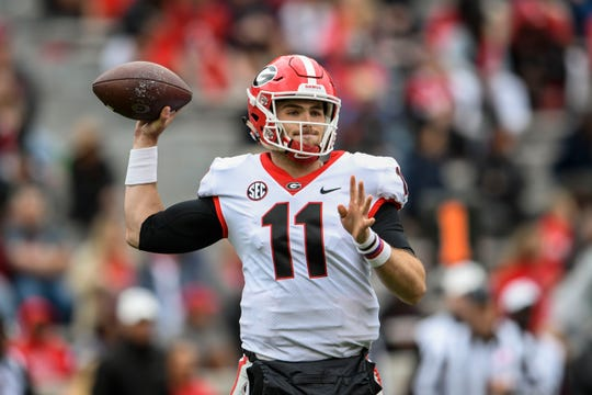 Apr 20, 2019; Athens, GA, USA; Georgia Bulldogs quarterback Jake Fromm (11) passes the ball during the Georgia spring game at Sanford Stadium. Mandatory Credit: Dale Zanine-USA TODAY Sports