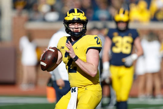 Apr 13, 2019; Ann Arbor, MI, USA; Michigan Wolverines quarterback Shea Patterson (2) passes the ball during the spring football game at Michigan Stadium. Mandatory Credit: Raj Mehta-USA TODAY Sports