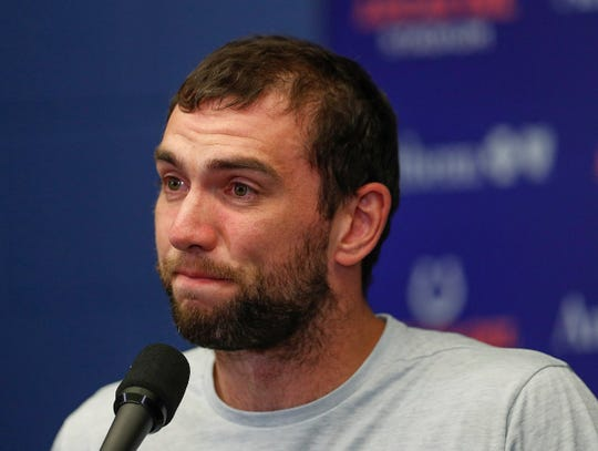 Andrew Luck tears up while announcing his retirement from the Indianapolis Colts. Aug. 24, 2019