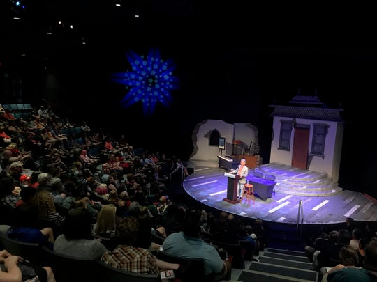 """George Takei talks about his latest graphic memoir """"They Called Us Enemy"""" at the Children's Museum of indianapolis Lilly Theater Sunday Aug. 25, 2019"""