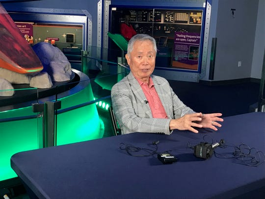 George Takei talks to media during a press conference at the Children's Museum of Indianapolis Schaefer Planetarium & Space Object Theater Aug. 25, 2019.